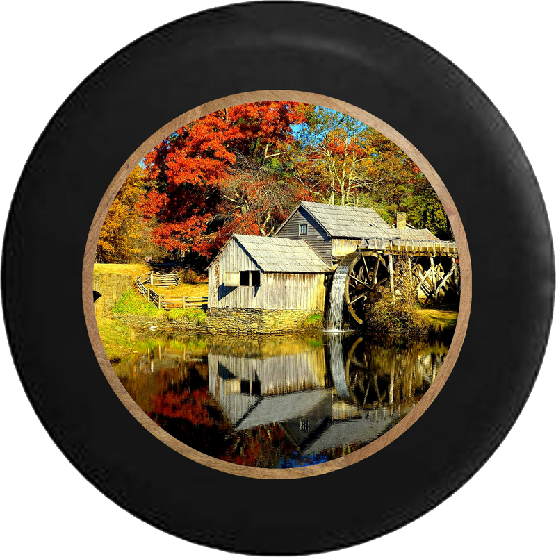 Old Mill Water Wheel in the Country Jeep Camper Spare Tire Cover BLACK-CUSTOM SIZE/COLOR/INK- R317 - TireCoverPro