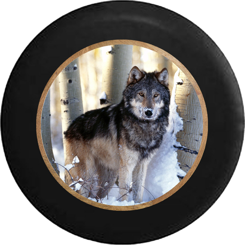 Grey Wolf in the Snowy Winter Birch Forest Jeep Camper Spare Tire Cover BLACK-CUSTOM SIZE/COLOR/INK- R322 - TireCoverPro