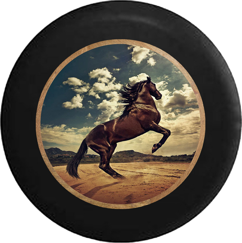 Black Horse in the Wind Bareback Stallion Jeep Camper Spare Tire Cover BLACK-CUSTOM SIZE/COLOR/INK- R326 - TireCoverPro