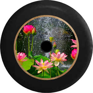 Jeep Wrangler JL Backup Camera Lotus Blossom Waterfall Rain Flowers Jeep Camper Spare Tire Cover 35 inch R327