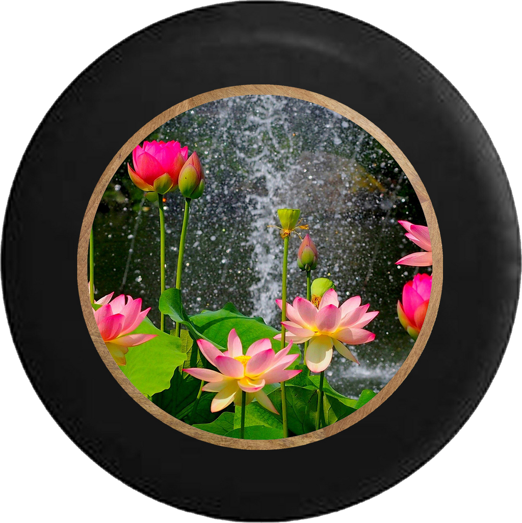 Lotus Blossom Waterfall Rain Flowers Jeep Camper Spare Tire Cover 35 inch R327