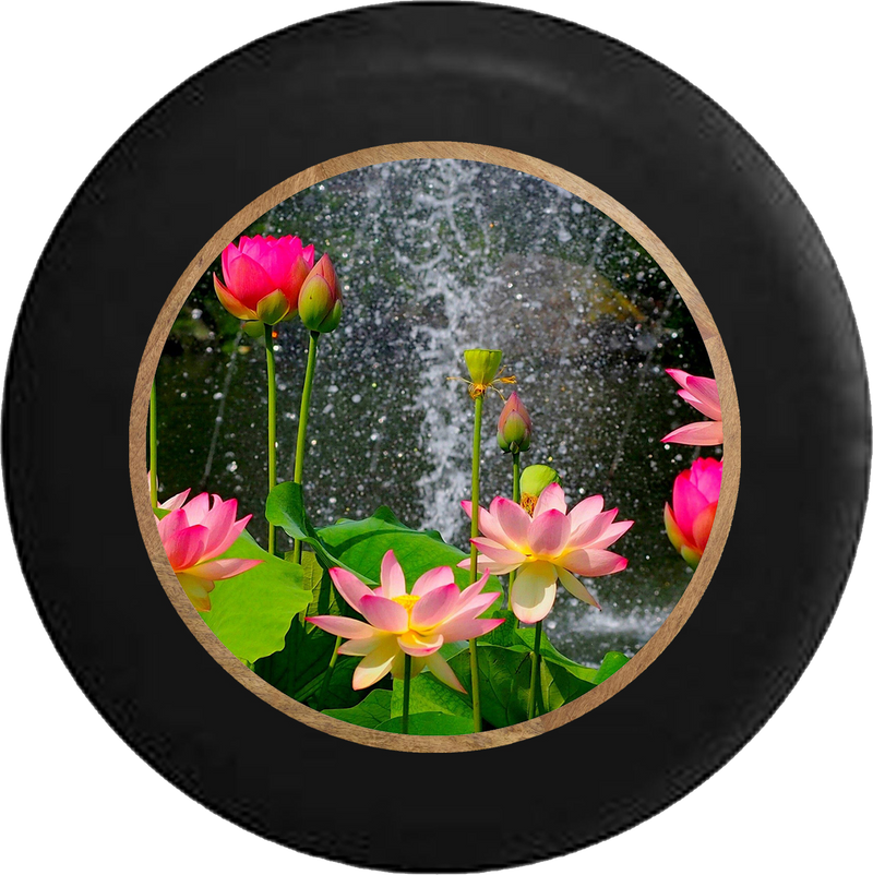 Lotus Blossom Waterfall Rain Flowers Jeep Camper Spare Tire Cover BLACK-CUSTOM SIZE/COLOR/INK- R327 - TireCoverPro