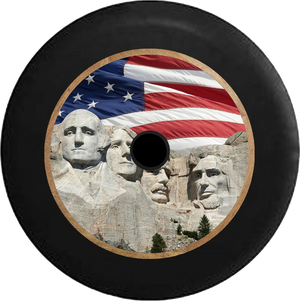 Jeep Wrangler JL Backup Camera US Flag Mount Rushmore Closeup Jeep Camper Spare Tire Cover 35 inch R331