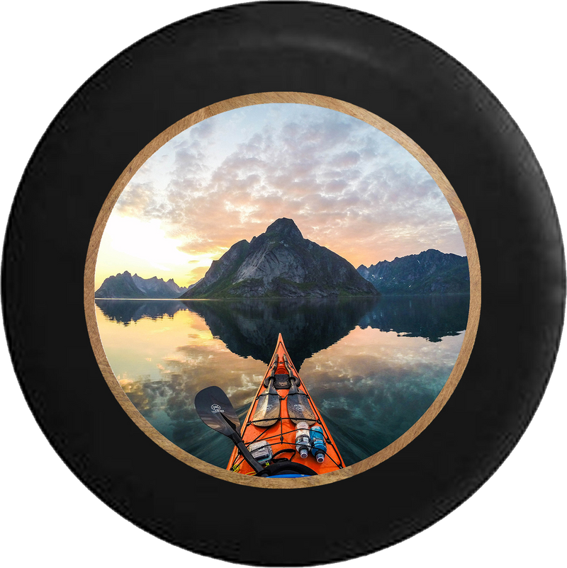 Sea Kayak on a Smooth Glass Sunrise at the Lake Jeep Camper Spare Tire Cover BLACK-CUSTOM SIZE/COLOR/INK- R332 - TireCoverPro