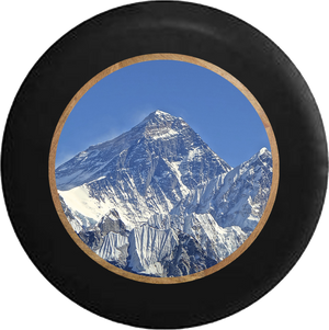 Mt Everest Snowy Peak Mountain Climbing Jeep Camper Spare Tire Cover BLACK-CUSTOM SIZE/COLOR/INK- R333 - TireCoverPro