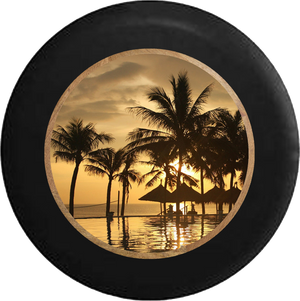 Jeep Liberty Tire Cover With Tropical View Print (Liberty 02-12)
