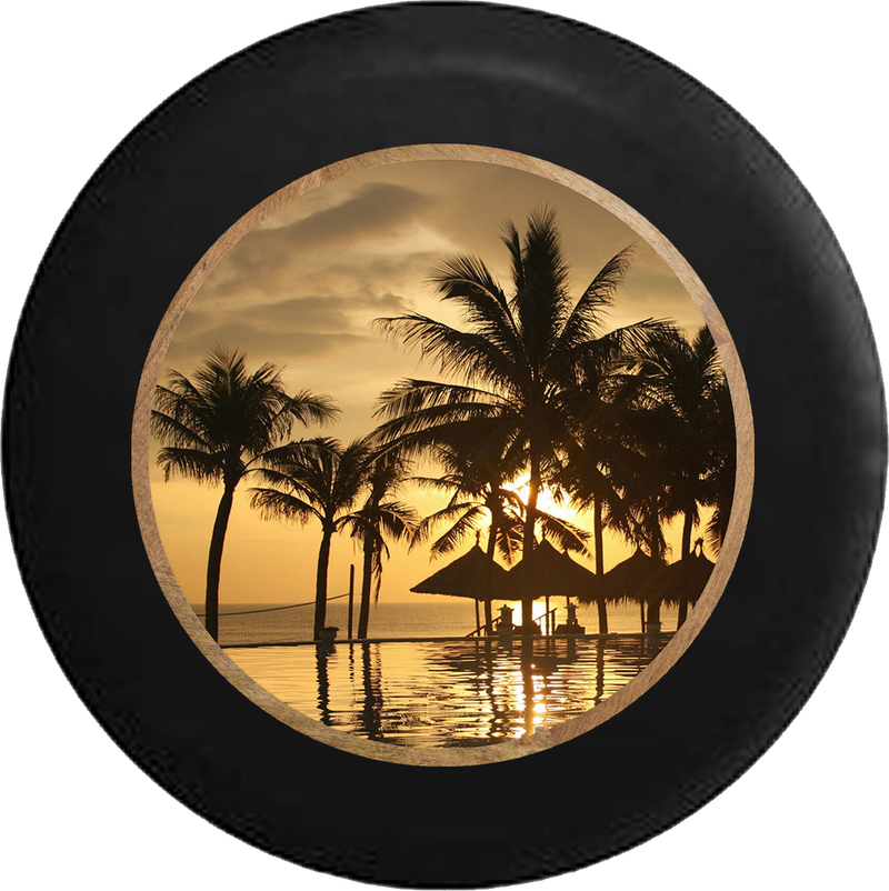 Jeep Liberty Tire Cover With Tropical View Print (Liberty 02-12) - TireCoverPro