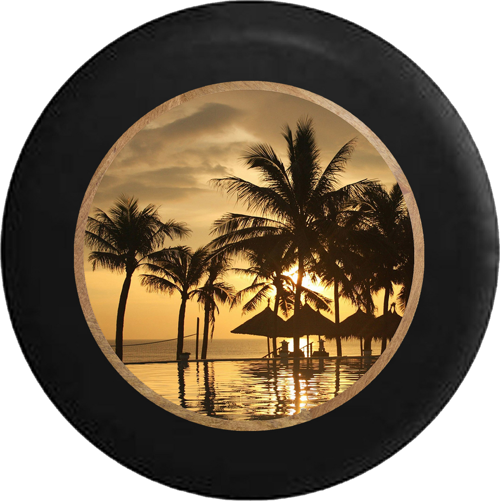 Jeep Wrangler Tire Cover With Tropical View Print (Wrangler JK, TJ, YJ)