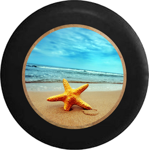 Sea Star Starfish at the Ocean Salt Water Jeep Camper Spare Tire Cover BLACK-CUSTOM SIZE/COLOR/INK- R350 - TireCoverPro