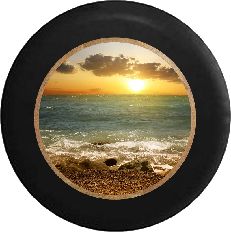 Seashore Ocean Tide Sunset Sunrise Coast Jeep Camper Spare Tire Cover BLACK-CUSTOM SIZE/COLOR/INK- R351 - TireCoverPro