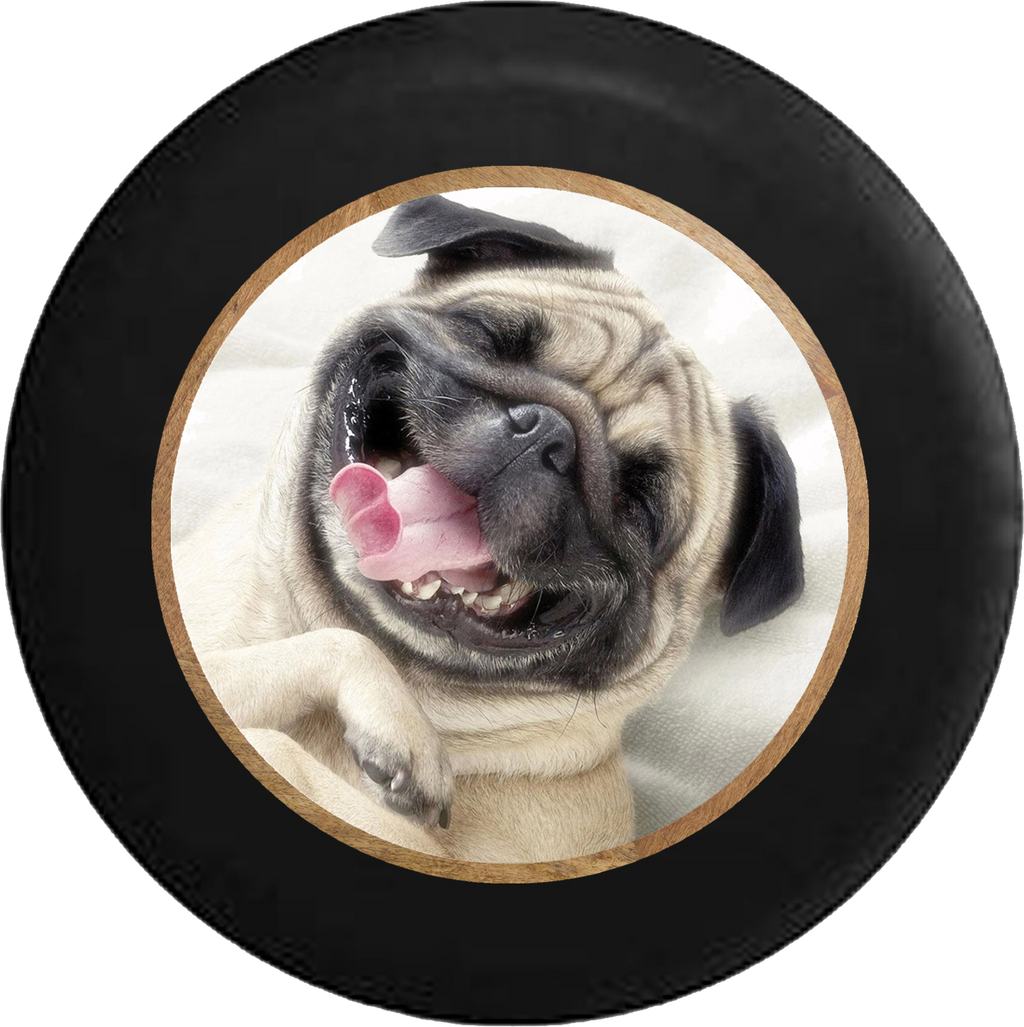 Smiling Pug Dog Cute Pet Jeep Camper Spare Tire Cover BLACK-CUSTOM SIZE/COLOR/INK- R354 - TireCoverPro
