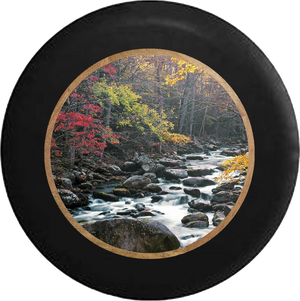 Wild River Over Rock Bed RV Camper Spare Tire Cover-BLACK-CUSTOM SIZE/COLOR/INK - TireCoverPro