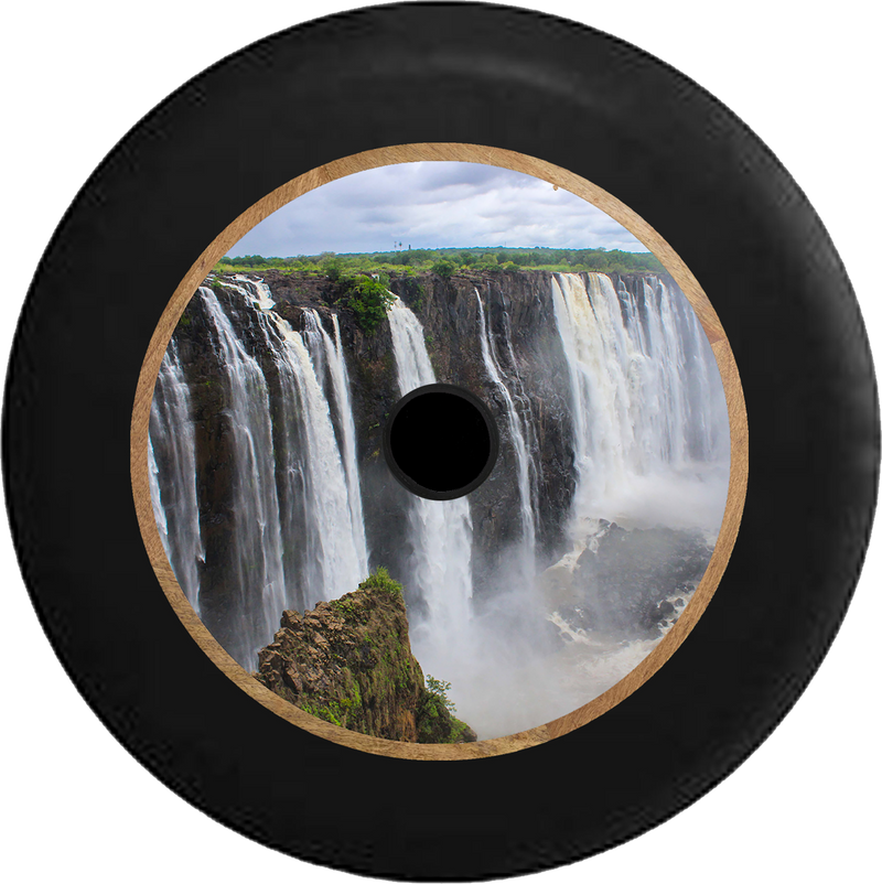 Jeep Wrangler JL Backup Camera Victoria Falls Waterfall Largest in the World Jeep Camper Spare Tire Cover 35 inch R371