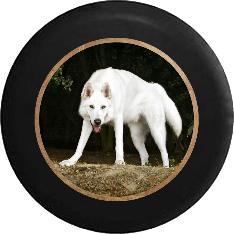 White Wolf Hunting Prey Jeep Camper Spare Tire Cover BLACK-CUSTOM SIZE/COLOR/INK- R374 - TireCoverPro