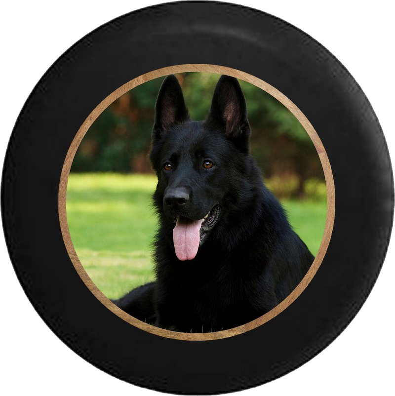 Black Shepard Dog Happy K9 Jeep Camper Spare Tire Cover BLACK-CUSTOM SIZE/COLOR/INK- R377 - TireCoverPro