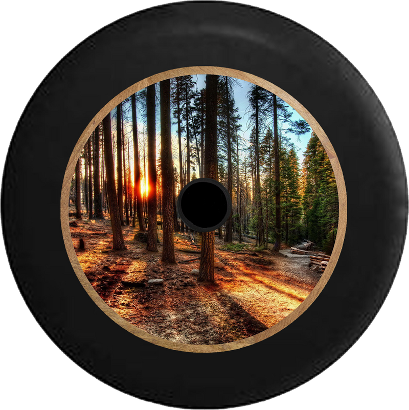 Jeep Wrangler JL Backup Camera Sun Through the Tall Pines California Forest Jeep Camper Spare Tire Cover 35 inch R382