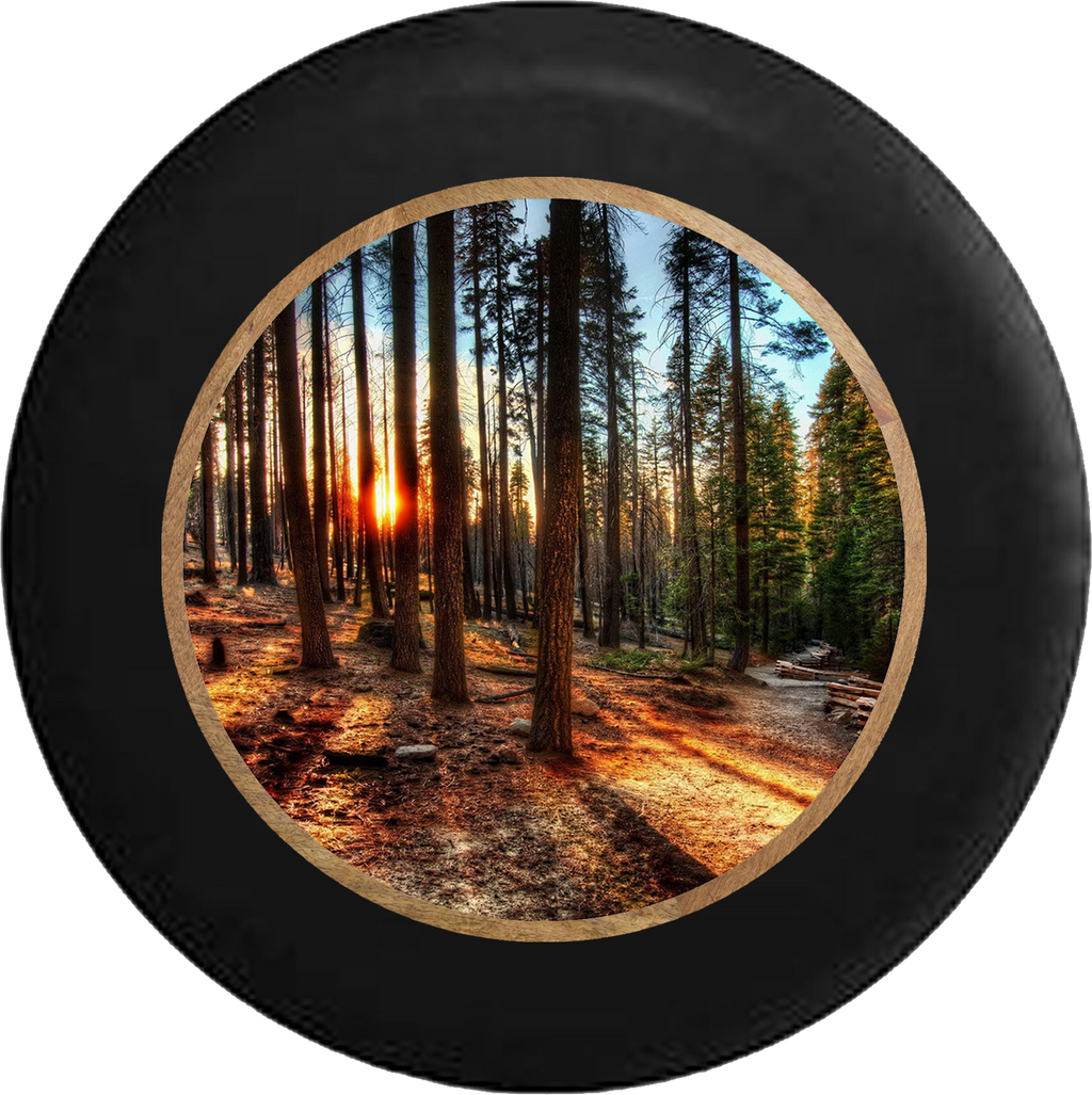 Sun Through the Tall Pines California Forest Jeep Camper Spare Tire Cover BLACK-CUSTOM SIZE/COLOR/INK- R382 - TireCoverPro