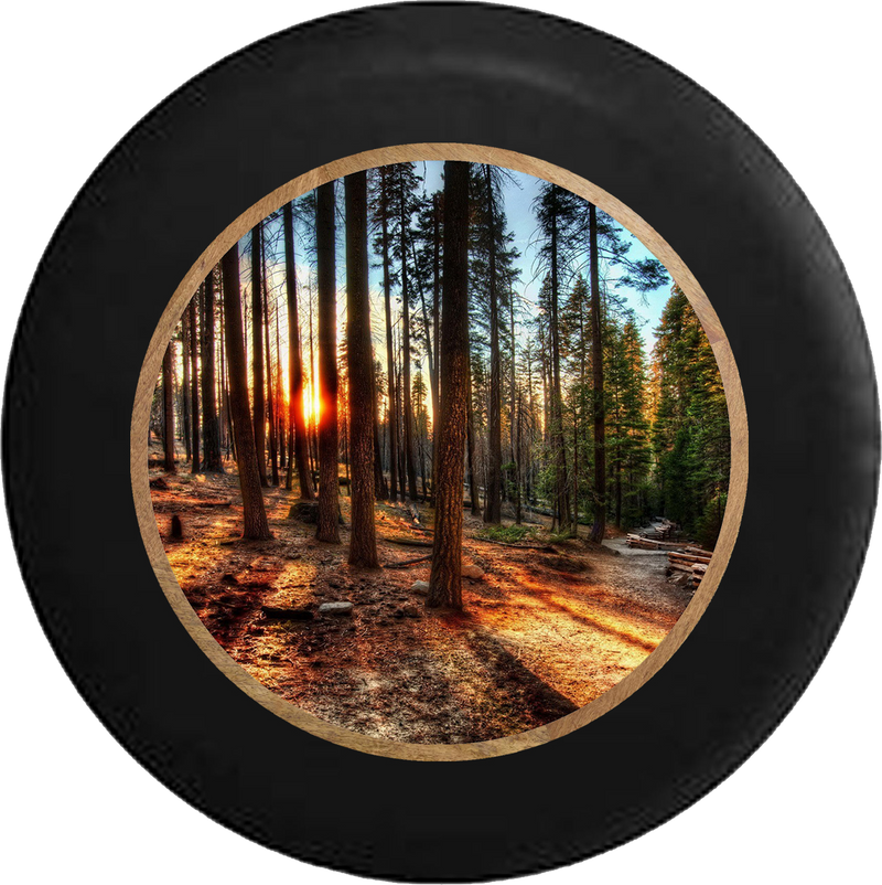 Sun Through the Tall Pines California Forest Jeep Camper Spare Tire Cover 35 inch R382