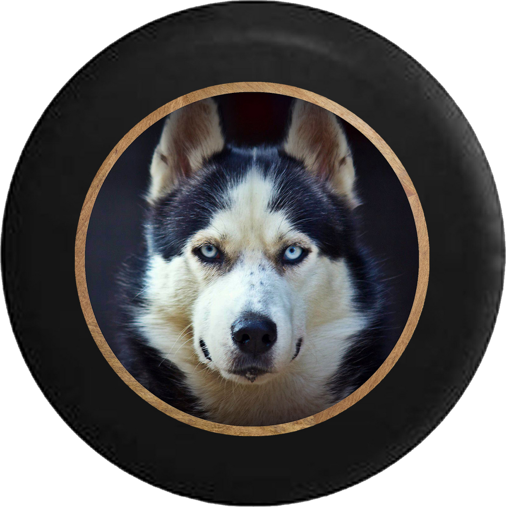 Husky Blue Eyed Dog Jeep Camper Spare Tire Cover BLACK-CUSTOM SIZE/COLOR/INK- R383 - TireCoverPro