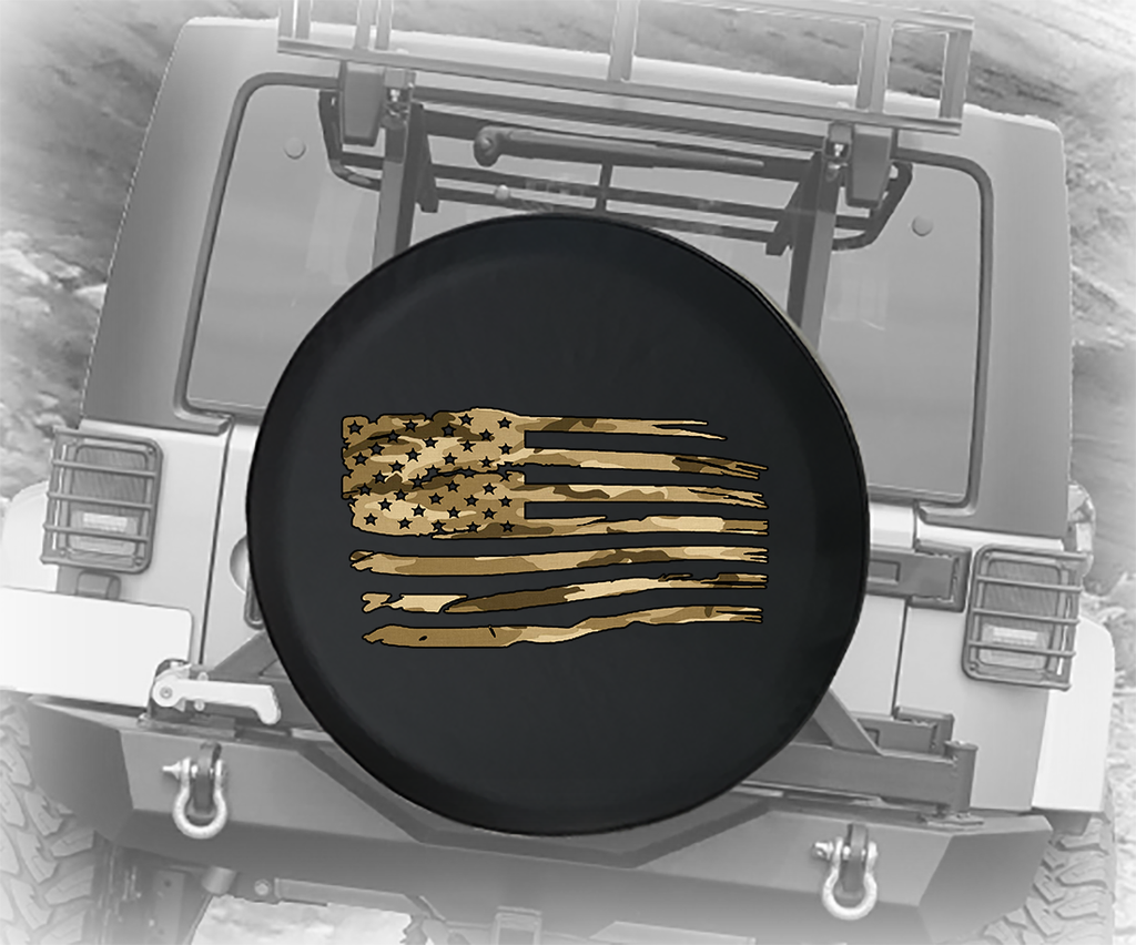 Green Camo Waving American Flag Military USA  - Spare Tire Cover
