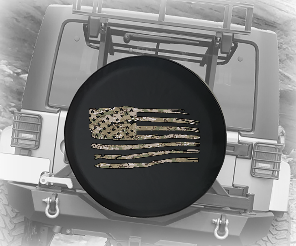Tactical Camo Waving American Flag Military Veteran - Spare Tire Cover