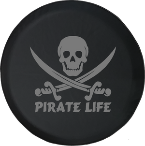 Pirate Life Skull & Swords Saltwater Edition Offroad Jeep RV Camper Spare Tire Cover S210 - TireCoverPro