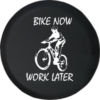 Bike Now Work Later Mountain Road Downhill Offroad Racing Offroad Jeep RV Camper Spare Tire Cover S257