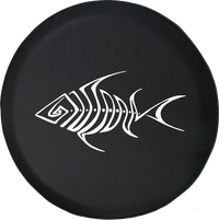 Tribal Bone Fish Skeleton Trout Bass Walleye Fishing Offroad Jeep RV Camper Spare Tire Cover S367
