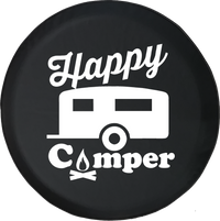 Happy Camper Camp Fire RV Trailer Offroad Jeep RV Camper Spare Tire Cover T110
