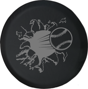 Baseball Ripping Through Trailer Offroad Jeep RV Camper Spare Tire Cover T169