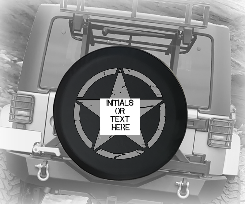Steel Grey Vintage Military Distressed Star - Personalized Spare Tire Cover