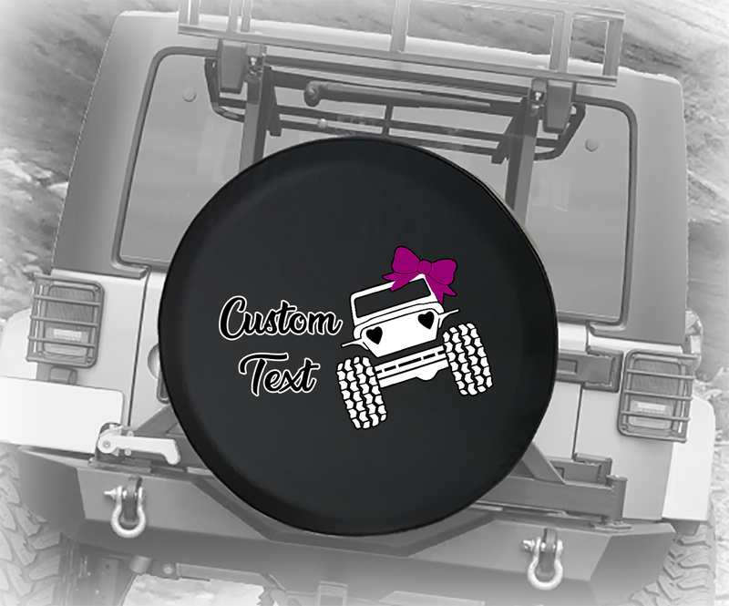 Cute American Offroad 4x4 Hearts & Bows Pink- Personalized Spare Tire Cover
