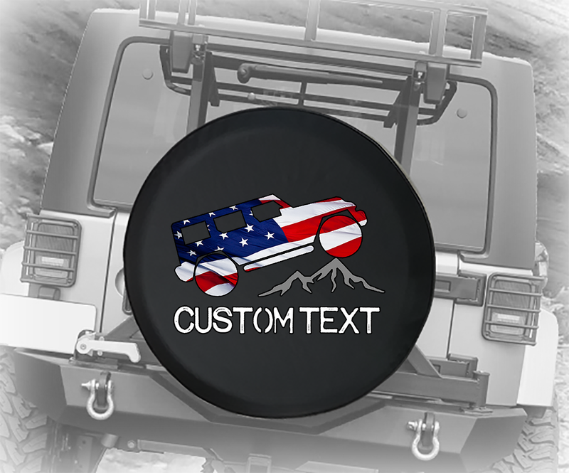 American Flag Offroad Mountain Unlimited- Personalized Spare Tire Cover
