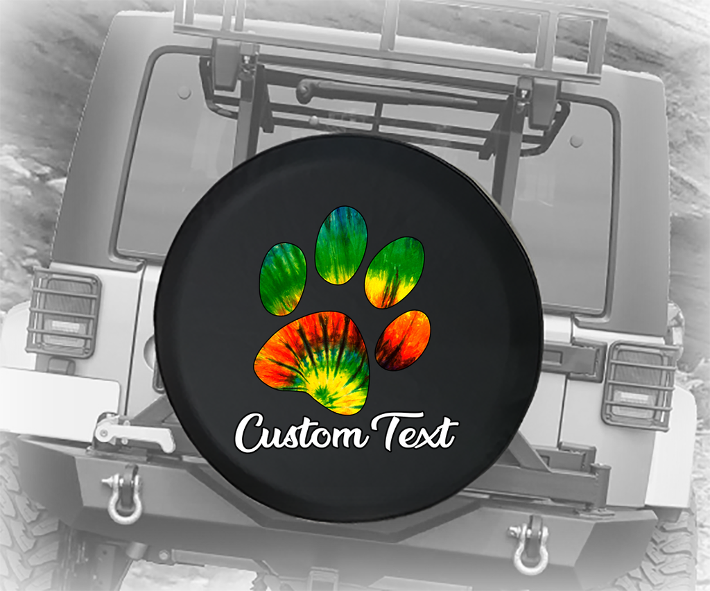 Tie Dye Paw Print - Personalized Spare Tire Cover
