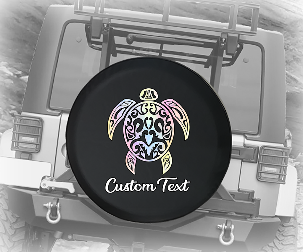 Pastel Watercolor Sea Turtle Island - Personalized Spare Tire Cover