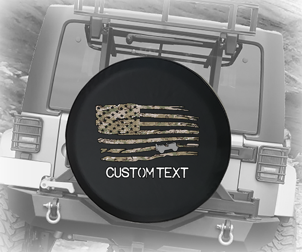 Digital Camo Military Vintage American Flag- Personalized Spare Tire Cover