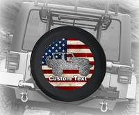 American Flag Vintage Diamond Plate 4x4- Personalized Spare Tire Cover