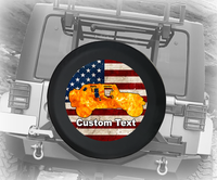 American Flag Vintage Orange Flames 4x4- Personalized Spare Tire Cover