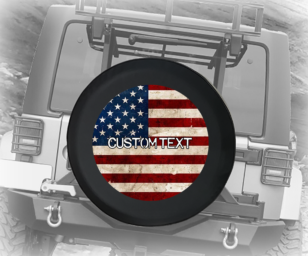 Vintage American Flag- Personalized Spare Tire Cover