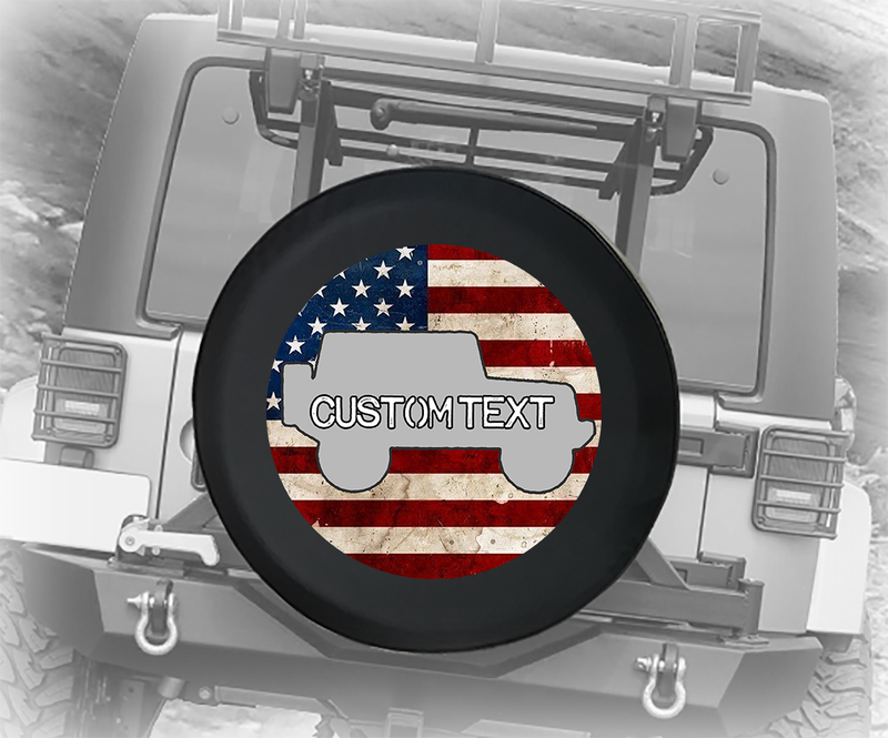 Vintage American Flag Offroad 4x4 - Personalized Spare Tire Cover