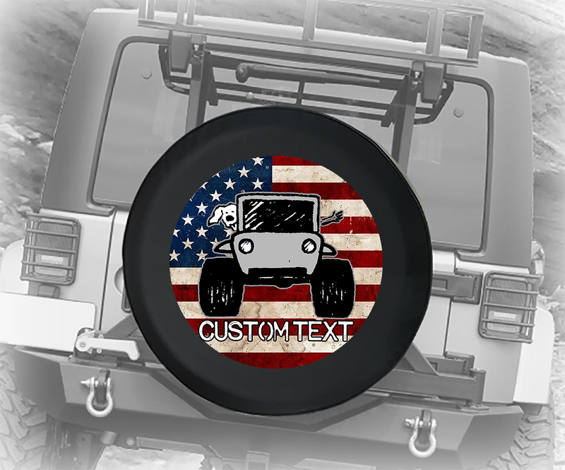 Vintage American Flag The Wave Paw Prints - Personalized Spare Tire Cover