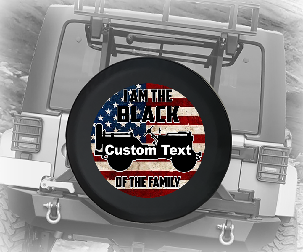 I am the Black Sheep of the Family USA Flag- Personalized Spare Tire Cover