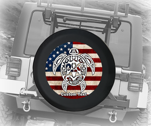 American Flag Sea Turtle American 4x4 - Personalized Spare Tire Cover