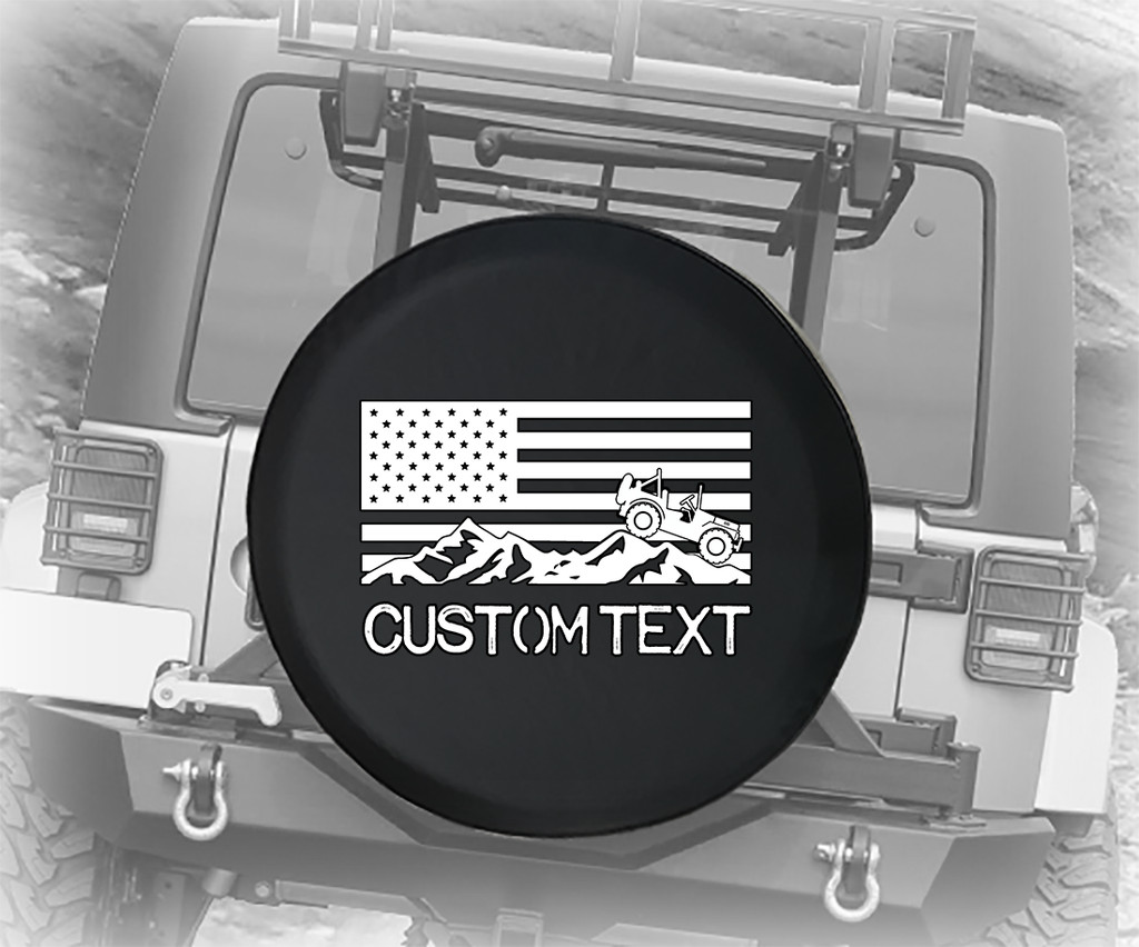 American 4x4 USA Flag Military- Personalized Spare Tire Cover