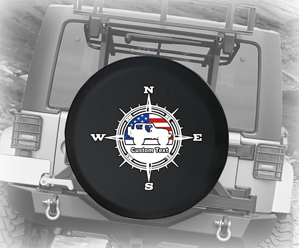 American Flag Compass USA 4x4- Personalized Spare Tire Cover