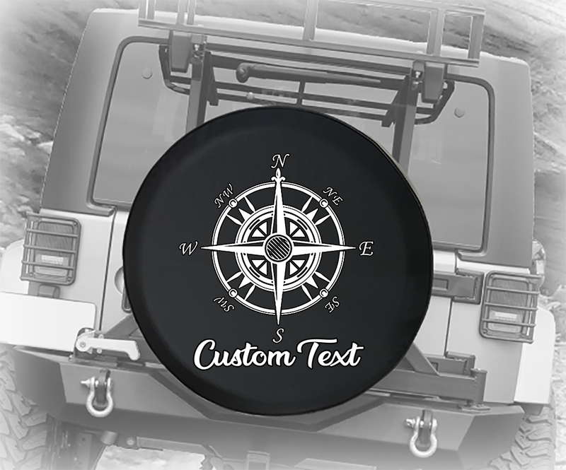 Nautical Compass Map Camping - Personalized Spare Tire Cover