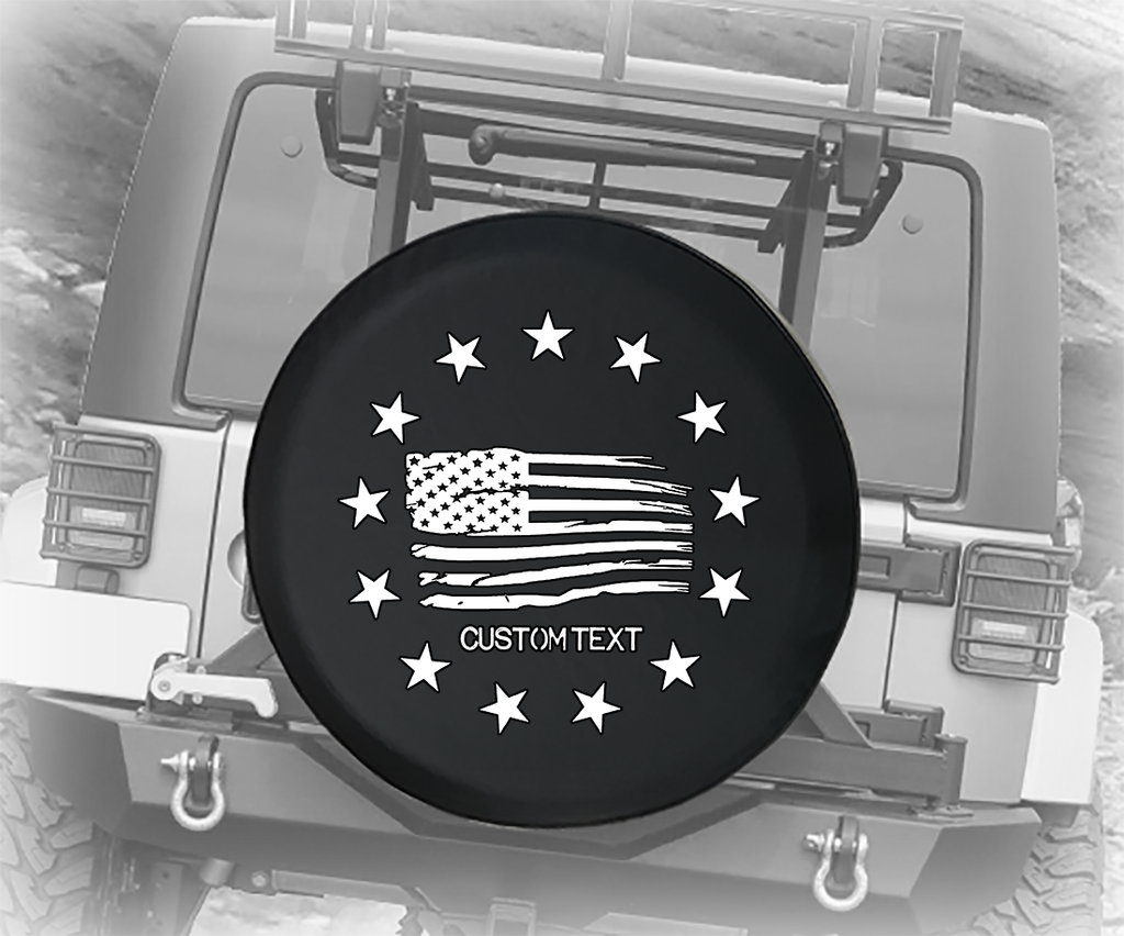 Distressed American Flag 13 Stars - Personalized Spare Tire Cover