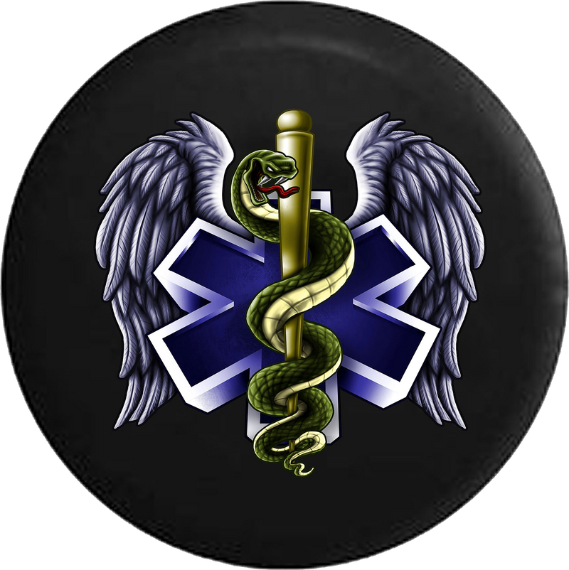 Emergency Medical Tech Angel Wings Logo RV Camper Spare Tire Cover-35 inch