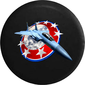 Fighter Jet Through Red White and Blue America Shield RV Camper Spare Tire Cover-35 inch