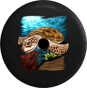 Jeep Wrangler JL Backup Camera Day Sea Turtle on the Beach by the Ocean in the Sun RV Camper Spare Tire Cover-35 inch